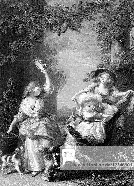 The Royal Princesses  children of King George III  19th century.Artist: Robert Graves