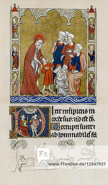 Christ being found by his mother in the temple disputing with doctors  c1310-1320. Artist: Unknown