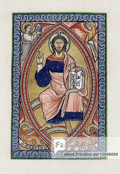 Christ in glory with the symbols of the four Evangelists  c1200. Artist: Unknown