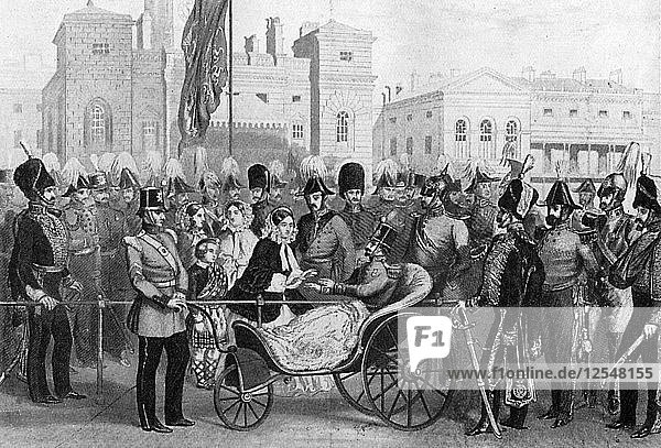 Queen Victoria distributing medals  18 May 1855  (c1920). Artist: Unknown