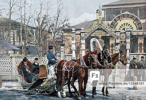 A troika sled in Moscow  Russia  c1890. Artist: Gillot