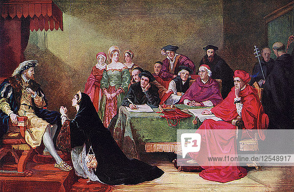The Trial of Queen Catherine  19th century  (c1920). Artist: Henry Nelson ONeil
