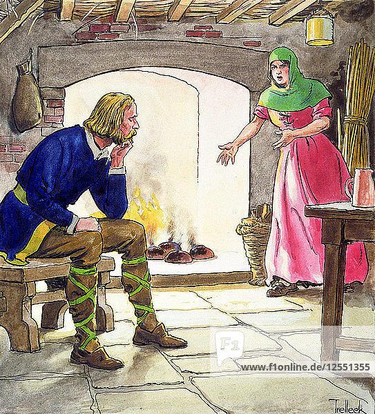 King Alfred burning the cakes  (c1900). Artist: Trelleek