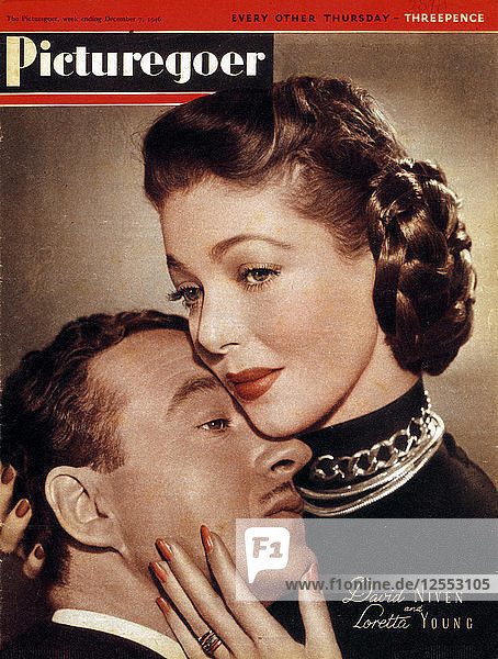 David Niven (1910-1983) and Loretta Young (1913-2000)  actors  1946. Artist: Unknown