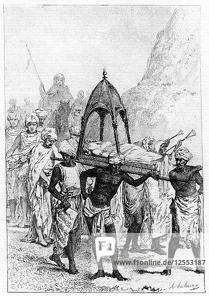 The funeral of Sinbads wife  19th century. Artist: Unknown