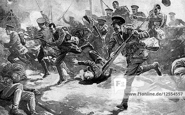 British infantry battle with German forces  First World War  1914. Artist: Unknown