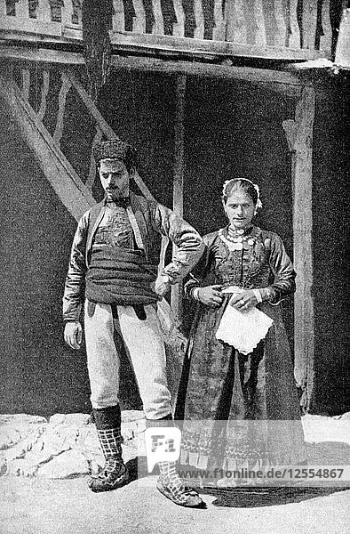 A young married couple  Macedonia  1922.Artist: HB Crook