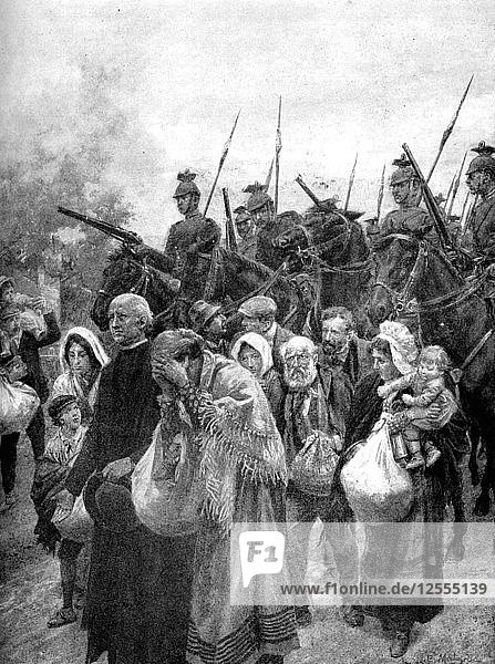 Expelling the civil residents of Louvain  Brussels  1914. Artist: Unknown