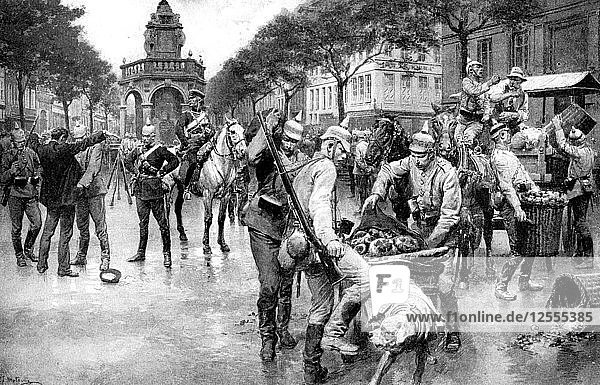 German troops occupying the city of Liege in Belgium  First World War  1914. Artist: Unknown