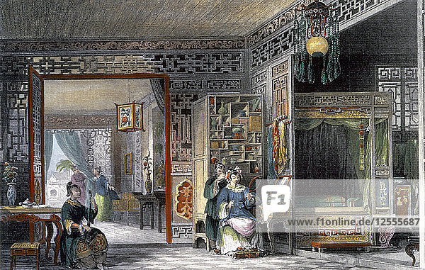 Boudoir and bedchamber of a lady of rank  China  1843. Artist: Thomas Allom