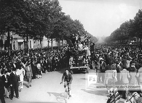 Victory in Europe Day  Avenue des Champs-Elysees  Paris  8 May 1945. Artist: Unknown