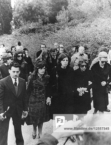 Funeral of Aristotle Onassis  Skorpios Island  Greece  21 March 1975. Artist: Unknown
