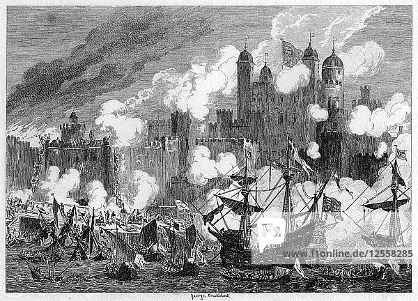 Attack upon Saint Thomass Tower by the Duke of Suffolk  1554 (1840).Artist: George Cruikshank