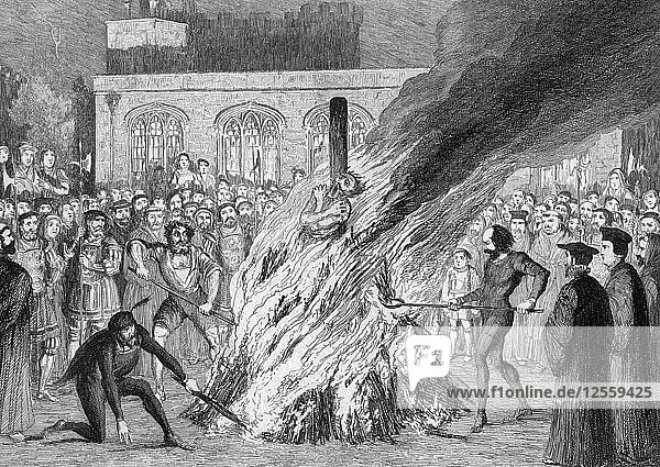 The Burning of Edward Underhill on Tower Green  1840. Artist: George Cruikshank