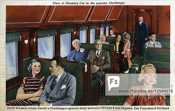 Sleeping car on the North Western Union Pacifics popular Challenger train  USA  1941. Artist: Unknown