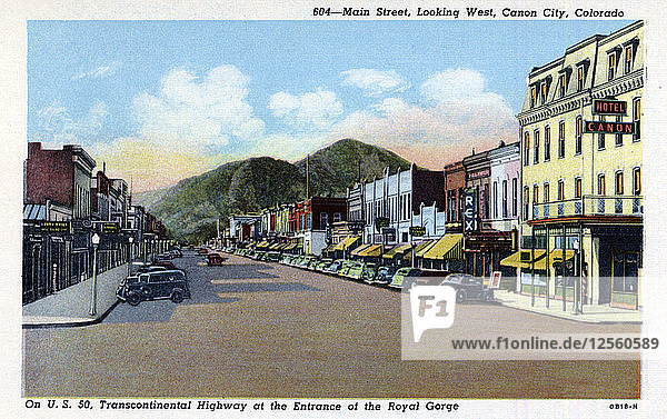 Main Street  looking west  Canon City  Colorado  USA  1940. Artist: Unknown