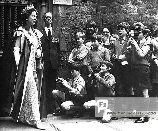 The Queen photographed by the Choir School of Westminster Abbey  London  1972. Artist: Unknown