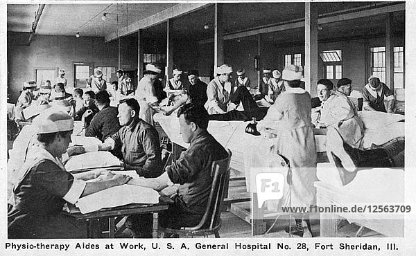 Physiotherapy aides at work  USA General Hospital No 28  Fort Sheridan  Illinois  USA  1940. Artist: Unknown