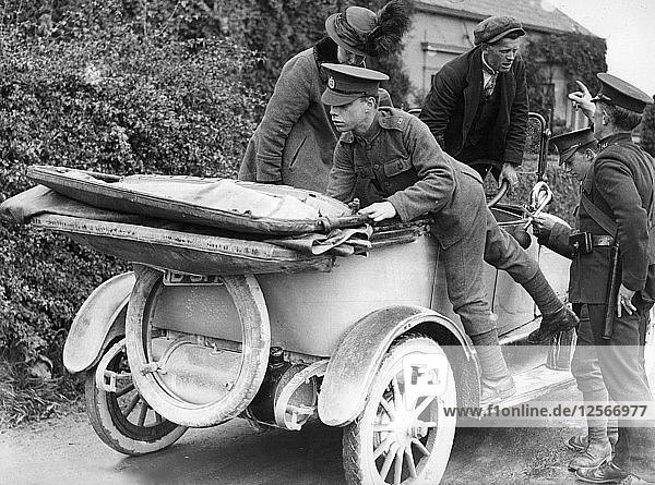 Soldiers performing a spot check on a car  c1910s(?). Artist: Unknown