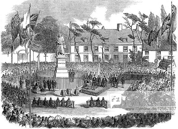 Inauguration of the statue of Sir Isaac Newton at Grantham  Lincolnshire  1858. Artist: Unknown