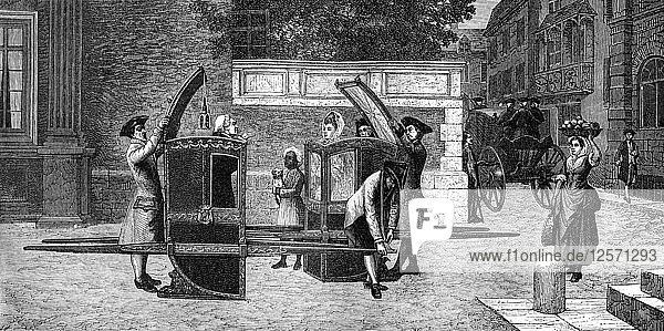 Sedan chairs  18th century (1882-1884).Artist: Smeeton and Tilly