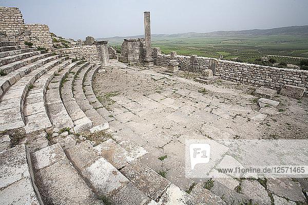 The auditorium (small theatre) at Dougga (Thugga)  Tunisia. Artist: Samuel Magal