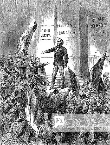 Leon Gambetta proclaiming the Republic of France  4th September 1870 (1882-1884). Artist: Unknown