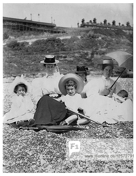 People on a beach  c1890-1909(?). Artist: Unknown