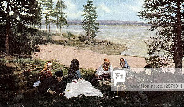 Karelians having tea by a river  near Archangel  Russia  c1930s. Artist: Unknown