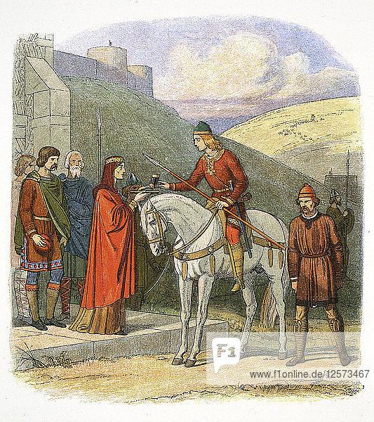 Edward the Martyr arriving at Corfe  Dorset  978 (1864). Artist: James William Edmund Doyle