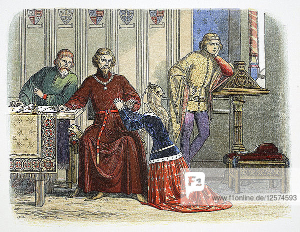 Queen Anne intercedes with Gloucester and Arundel for Sir Simon de Burley  1388 (1864). Artist: James William Edmund Doyle
