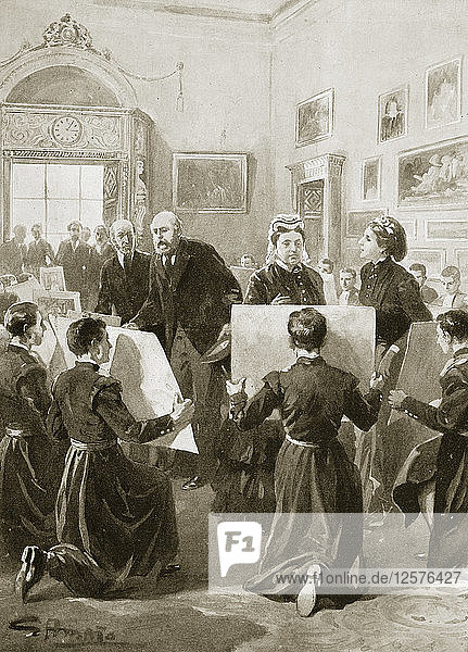 Bluecoat schoolboys showing their drawings to Queen Victoria  3 April 1873 (1901). Artist: Unknown