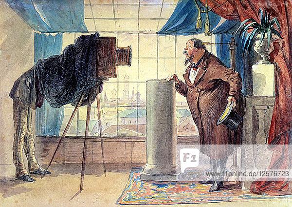 Merchant at the Photographer  1860s. Artist: Petr Mikhailovich Shmelkov