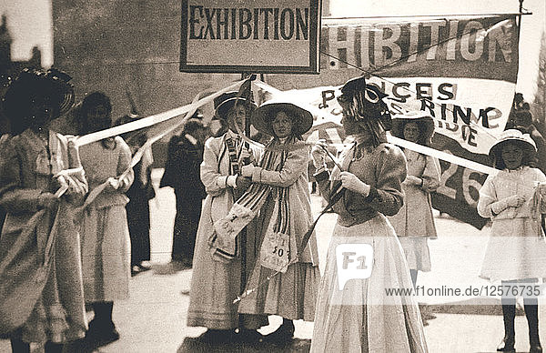 Young suffragettes promote the fortnight-long Womens Exhibition  London  13 May 1909. Artist: Unknown