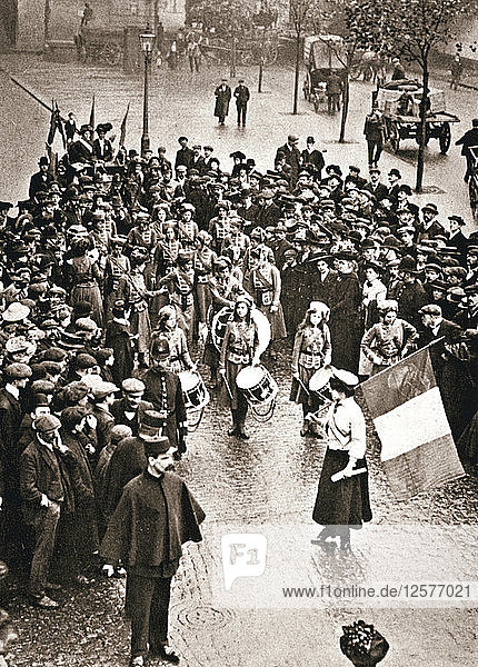 The Womens Social and Political Union fife and drum band out for the first time  13 May 1909. Artist: Unknown