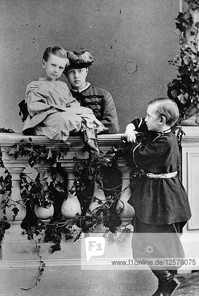 The three youngest children of Tsar Alexander II and Maria Alexandrovna of Russia  c1863-c1865. Artist: Unknown