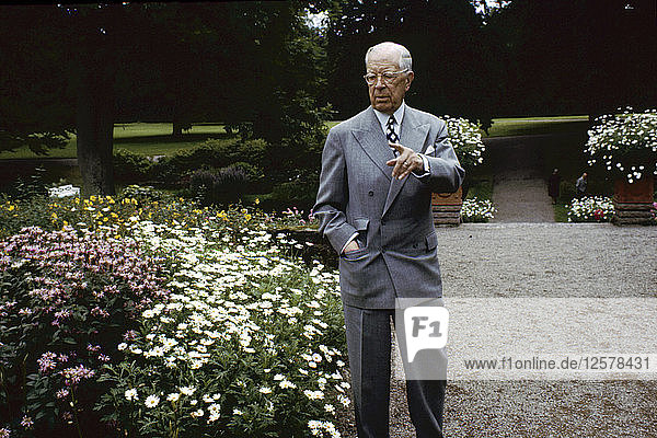 King Gustaf VI Adolf of Sweden at his summer residence  Sofiero Castle  Scania  1972. Artist: Unknown