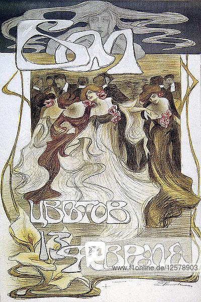 Poster for the Flowers Ball  1903. Artist: Elena Kiseleva