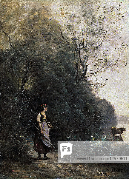 Shepherdess with a cow at the Edge of the Forest  1865-1870. Artist: Jean-Baptiste-Camille Corot