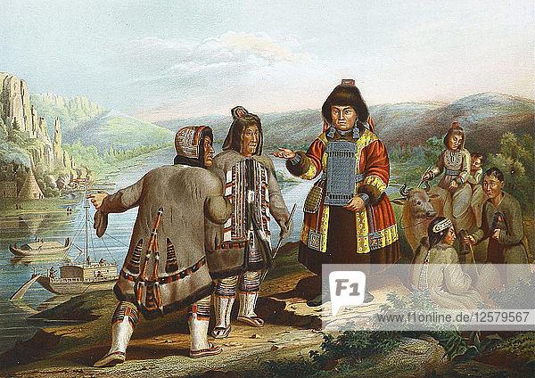 Yakuts at the Lena River  Siberia  Russia  1862. Artist: Anon