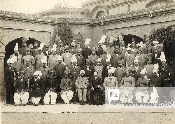 Shahpur district police officers group  India  1937-1938. Artist: Mool Chand & Son
