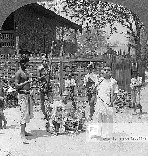 Scene during a festival  Burma  1908. Artist: Stereo Travel Co