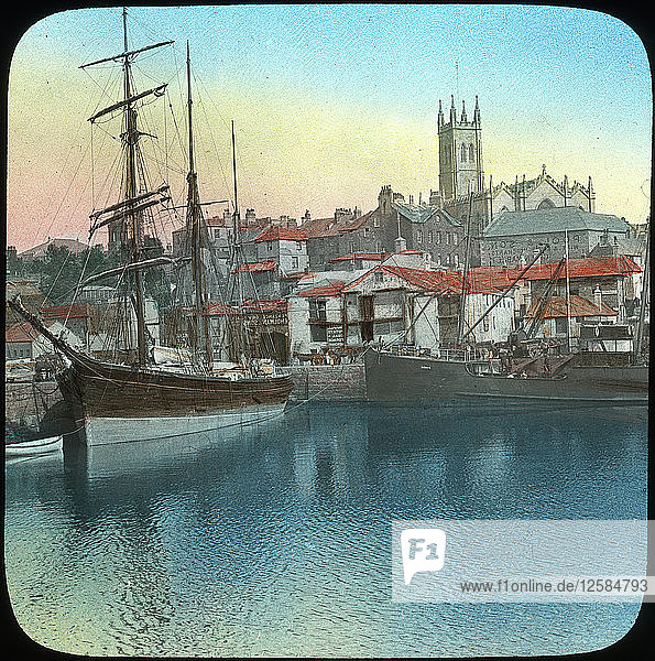 The harbour  Penzance  Cornwall  late 19th or early 20th century. Artist: Church Army Lantern Department