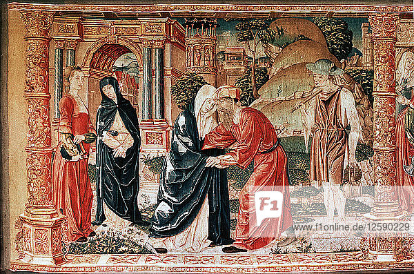 'Detail from the tapestry 'The Meeting of Joachim and Anna  the Birth of Mary and the Presentation in the Temple' from the series of 'The Story of the Virgin Mary'.'
