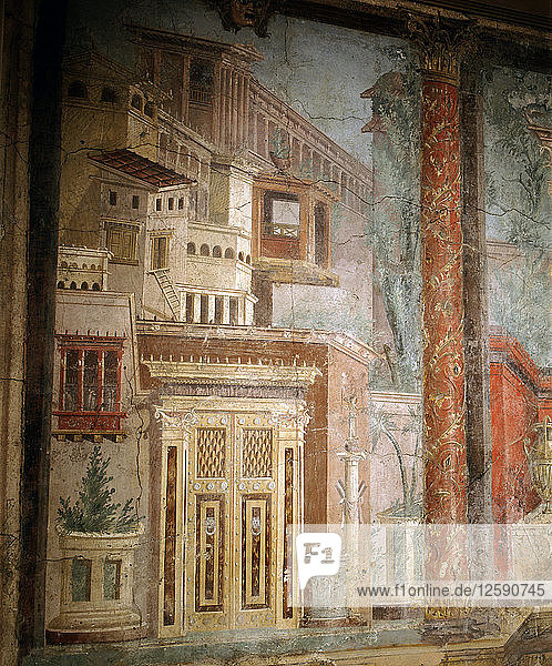 Fresco from a Villa at Boscoreale  now part of a reconstructed Cubiculum in the Metropolitan Museum of Art.