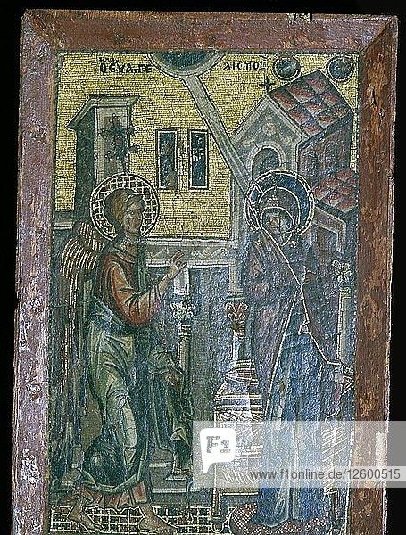 Miniature Byzantine mosaic of the Annunciation  14th century. Artist: Unknown