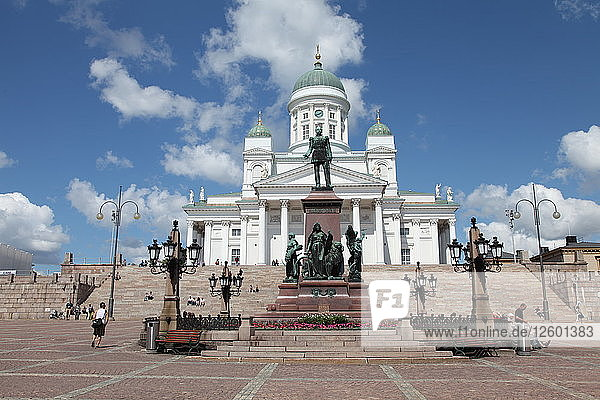 Lutheran Cathedral and the statue of Emperor Alexander II of Russia  Helsinki  Finland  2011. Artist: Sheldon Marshall