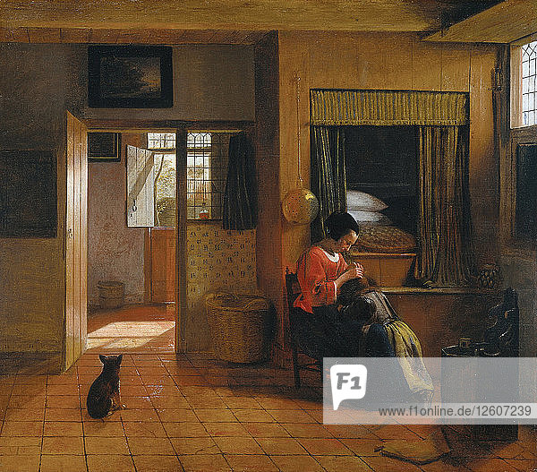 Interior with a Mother delousing her Childs Hair (A Mothers Duty)  1659-1660. Artist: Hooch  Pieter  de (1629-1684)