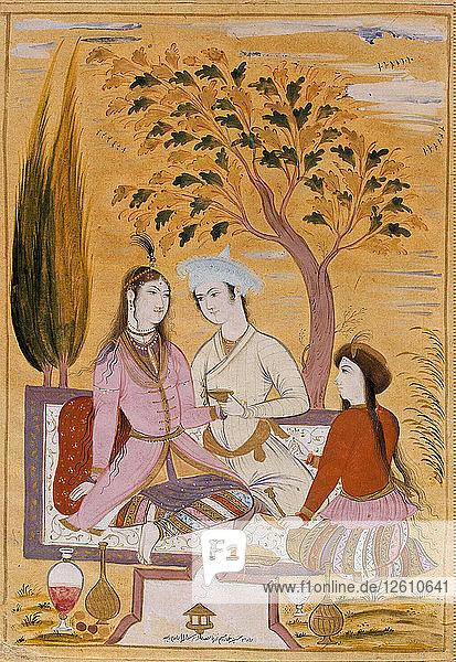 Amorous Couple and a Servant  1696. Artist: Muin Musavvir (1617-1708)