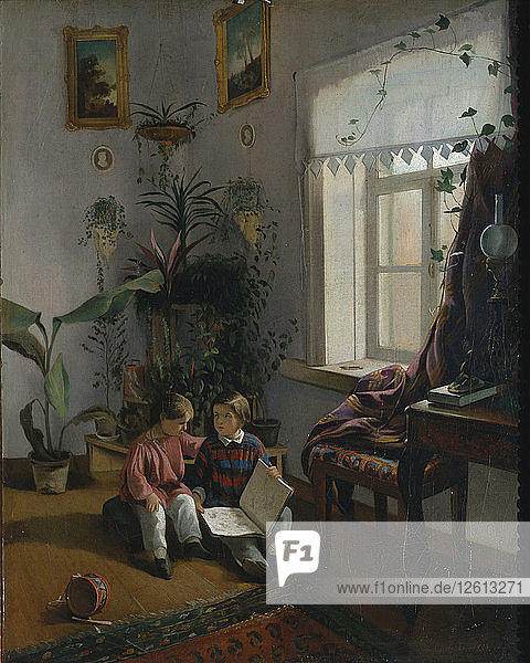 In the room. Young boys looking at book  1854. Artist: Khrutsky  Ivan Phomich (1810-1885)